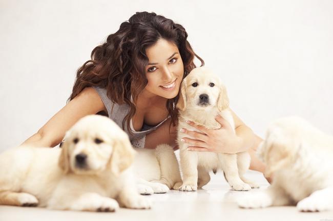 Красивая девушка с ухоженными щенками